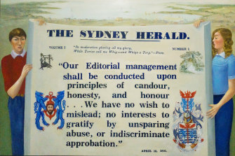 The Sydney Morning Herald charter painting drawn from the work of Alexander Pope, which was quoted in the Herald's first editorial.