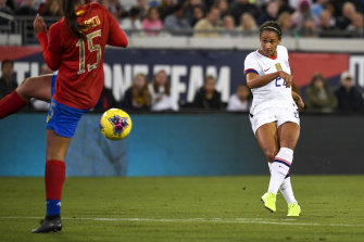 Lynn Williams scored two goals against Costa Rica in her return for the US national team earlier this month.