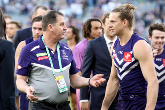 Ross Lyon with Nat Fyfe, who believes the AFL hasn't seen the last of the former Dockers coach.