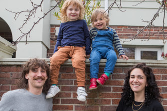 Ryder Susman, left, and partner Sivaan Brook, from Melbourne, with sons, from left, Wolfgang Ezra and Zephyr Valentine, have found that it's becoming harder to choose a unique name.
