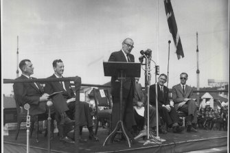 Cahill Officially opens the Work on the Sydney Opera House at Bennelong Point on March 02, 1959.