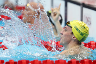Zac Stubblety-Cook reacts after his victory in the 200m breaststroke.