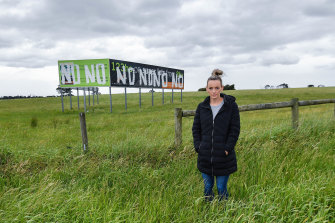 Kat Mann in front of a large piece of Cranbourne West farmland at the centre of an IBAC corruption probe.