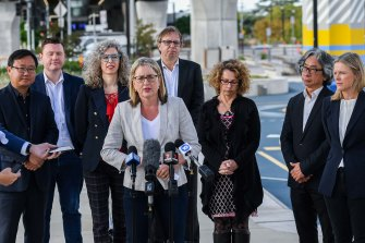 Transport Infrastructure Minister Jacinta Allan, with her backbench colleagues and Nicole Stoddart from the Suburban Rail Loop Authority (far right), providing an update on the underground line at Clayton station.