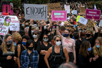 No place for old men: An estimated 5000 women gather for the March 4 Justice demonstration in Melbourne's Treasury Gardens.