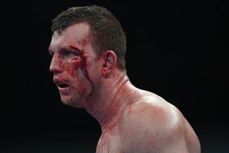 Jeff Horn suffered a cut above his eye in the bout Michael Zerafa said he'd 'retire' the Queenslander in.