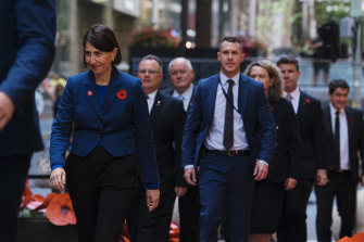 Premier Gladys Berejiklian at the 2020 Remembrance Day memorial at Martin Place Cenotaph on Wednesday.