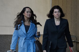 Sue Chrysanthou SC, right, and solicitor Rebekah Giles, both of whom are acting for Christian Porter, arrive at the Federal Court in Sydney on Tuesday.