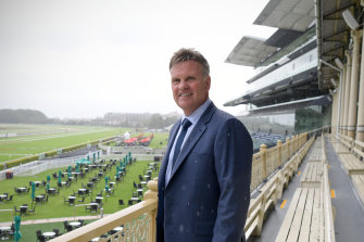 ATC chief executive Jamie Barkley at an empty  Randwick, which is set to  become in the norm in the next month.