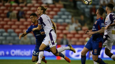 Never fun: the injured Joey Champness is yet to appear for Newcastle Jets this A-League season.