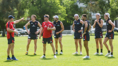 The Demons training at Gosch's Paddock on Wednesday.