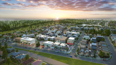 Artist's impression of the development in Vineyard in north-west Sydney. Planning Minister Anthony Roberts says the new levy was designed to ensure critical infrastructure was delivered in tandem with new housing.
