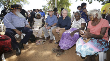 Opposition Leader Bill Shorten with Senator Pat Dodson and community members on Bathurst Island.