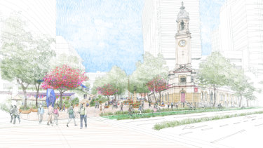 An artist's impression of a new public park planned for the North Sydney central business district.