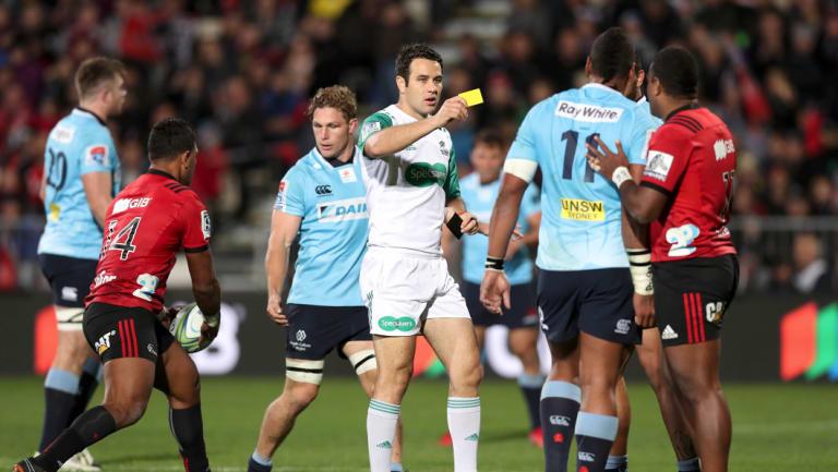 Off: Kiwi referee Ben O'Keeffe sends Waratahs winger Taqele Naiyaravoro to the bin.