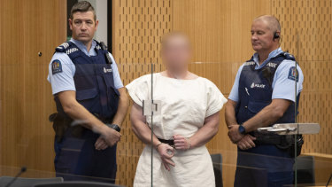 The alleged Christchurch shooter in court on Saturday morning.