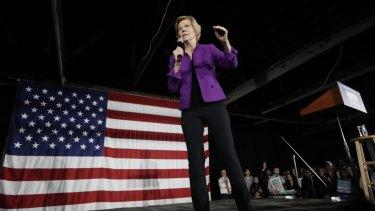 Democratic presidential candidate Senator Elizabeth Warren speaking in New York.