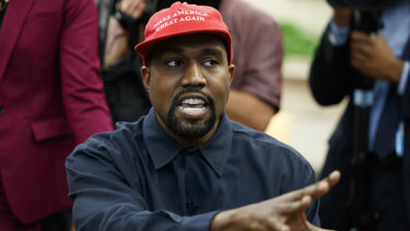 Rapper Kanye West speaks during a meeting in the Oval Office of the White House with President Donald Trump.
