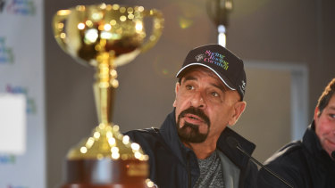 Marwan Koukash speaks at Werribee ahead of the Melbourne Cup.