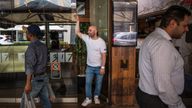 Restaurant 317 owner, Pierre Sande, in front of his restaurant on Church St, Parramatta.