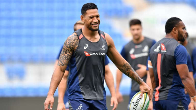 Cloud: Israel Folau at Wallabies training on the Gold Coast.