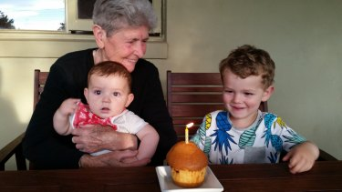 Peter Papathanasiou's mother with her two grandsons.