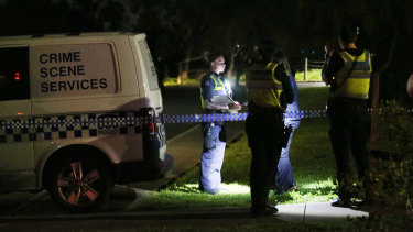 Police at the scene on Thursday night.