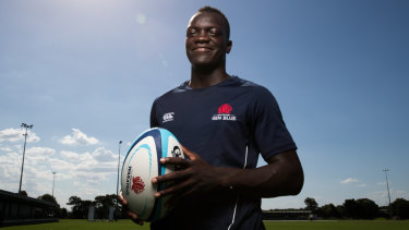Yool Yool, a Sudanese refugee who moved to Australia when he was four years old, hopes to make the Junior Wallabies team this year.