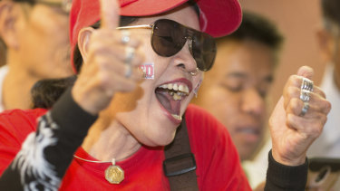 A supporter of the Pheu Thai party at party headquarters in Bangkok in March.