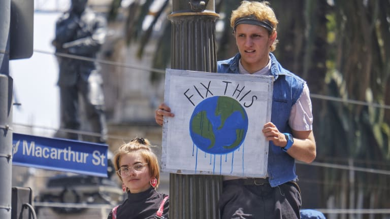 Student protesters in Melbourne on Friday as part of a national strike demanding action on climate change.