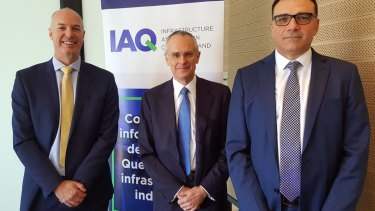 Infrastructure Association of Queensland chief executive Steve Abson with ACCC chairman Rod Sim and IAQ member Jonathan Peacock.