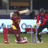Ravi Pampaul is clean bowled by England's Adil Rasid as the West Indies post just 55 runs in their World Cup opener.