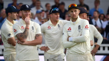 England captain Joe Root watches the post match presentations after Ashes victory by Australia in 2019.