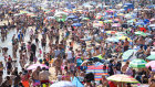 Visitors enjoy the hot weather on the beach on June 25 in Bournemouth, United Kingdom.