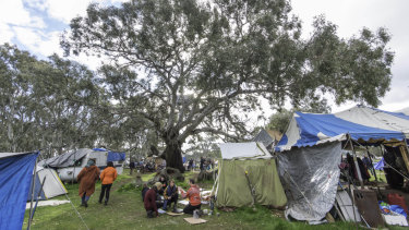 The Djab Wurrung camp at the sacred birthing trees, where protesters have been set up for months to prevent the trees being destroyed to make way for the Western Highway expansion.