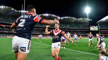 Best is yet to come: Daniel Tupou scores against the Storm in Adelaide.