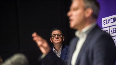 Premier Daniel Andrews with Chief Health Officer Brett Sutton.