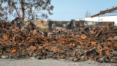 The debris left after a blaze at an illicit chemical stockpile in West Footscray.