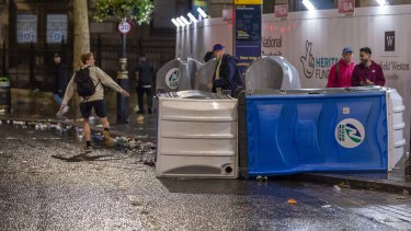 An upturned portaloo in Leicester Square after the Euro 2021 final.
