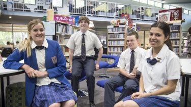 Arndell Anglican School students Imogen Thew, Muir McLennan, Jake Breden and Katie Regal said the new standard mathematics 2 course would be useful after they left school.
