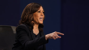 Senator Kamala Harris on the stage.