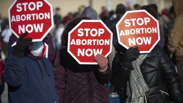 Anti-abortion advocates on the  steps of the Nebraska State Capitol in January.