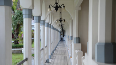 One of the corridors that lead to guest rooms at the Majapahit Hotel.