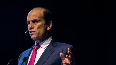 Michael Milken, chairman of the Milken Institute speaking at the Sohn Hearts and Minds at Art Gallery of NSW on Sunday.