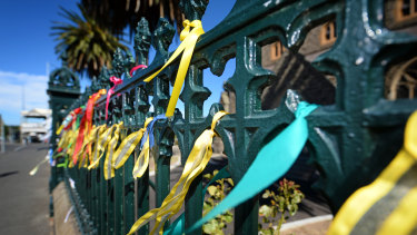 Abuse survivors have tied ribbons to the fences of many churches.