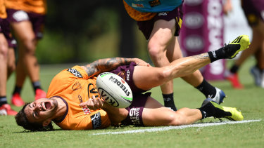Jack Bird goes down in pain at Broncos training.