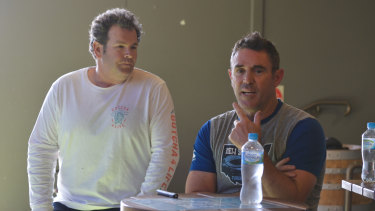 Brad Fittler and Gus Worland address a mental health clinic at the Griffith Leagues Club.