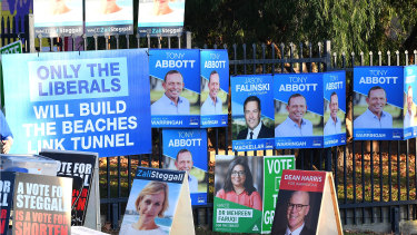Posters in Warringah on election day.