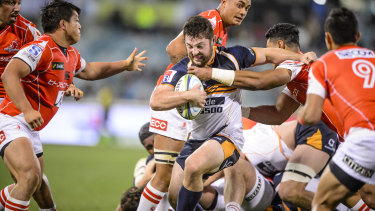 Connal McInerney played 80 minutes against the Sunwolves in round 16, in just his third Super Rugby game.