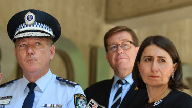 Police Commissioner Mick Fuller, Police Minister Troy Grant and Premier Gladys Berejiklian announce the 1500 new police officers on Tuesday.